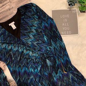 Cache Dresses - Cache Chevron Peacock Colors Faux Wrap Dress